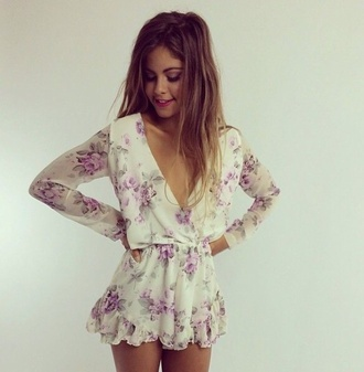 dress flower print playsuit purple white romper cute summer summer style trendy sexy long sleeve romper floral romper vintage romper white romper floral floral playsuit pom pom playsuit cute dress summer dress style of summer ☀️ pretty girl party short