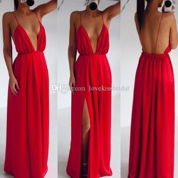 Discount Sexy Deep V Neck Spaghetti Straps Backless Evening Dresses High Split Side Floor Length Chiffon Casual Prom Dress Custom Made Cheap Online with $89.01/Piece | DHgate