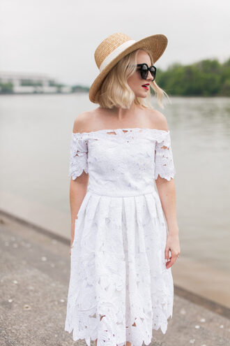poor little it girl blogger hat sunglasses jewels off the shoulder white dress mini dress round sunglasses date outfit summer outfits