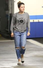jeans,ripped jeans,sophia bush,sweater,sweatshirt