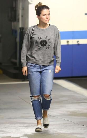 jeans ripped jeans sophia bush sweater sweatshirt