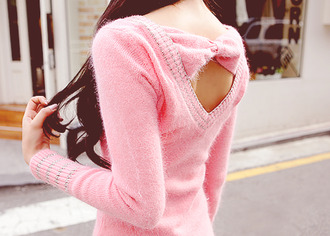 sweater pink bow winter sweater bows cute blouse shirt fashion musthave pink sweater sweater weather warm fuzzy sweater silver thread knit now pink bow pink knit sweater studs bow back love tight fit girl long sleeves outfit girly
