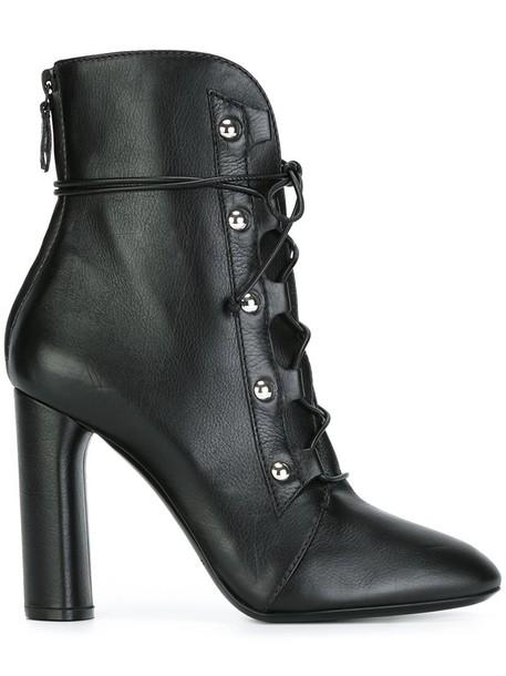 CASADEI women boots lace leather black shoes