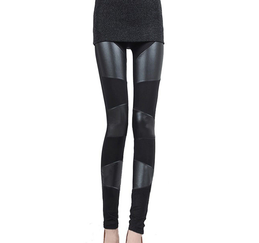 50ade2c9a New Fashion Faux Leather Women Leggings Black Tight Pants Three ...
