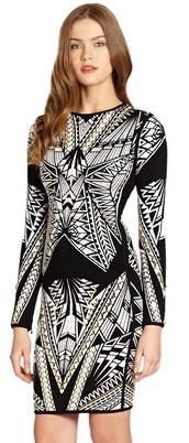 dress,dream it wear it,long sleeves,long sleeve dress,bodycon,bodycon dress,bandage,bandage dress,herve leger,pattern,patterned dress,party,party dress,sexy party dresses,sexy,sexy dress,party outfits,winter outfits,winter dress,fall outfits,fall dress,classy,classy dress,elegant,elegant dress,cocktail,cocktail dress,girly,date otufit,date outfit,yellow,white,black,monochorme,monochrome dress