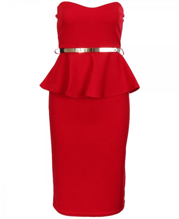 Cocktail Dress - Red Strapless Peplum Dress with | UsTrendy