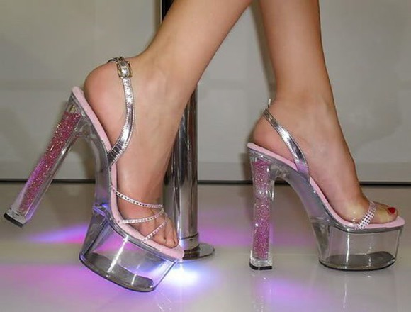 shoes sparkle high heels 90s see through plastic wedges stripper heels lol
