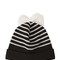Striped wool beanie hat with bow