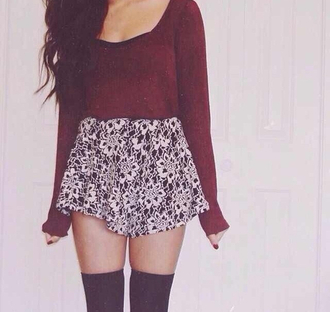 sweater knee high socks high waited skirt velvet sweater skirt cute shirt infinity india westbrooks tribal demetria devonne lovato color high heels ariana grande girly