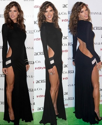dress gown alessandra ambrosio black sexy dress backless dress