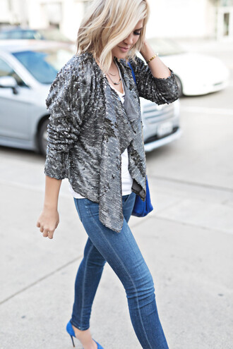 jacket tumblr sequins silver sequin jacket top white top denim jeans blue jeans skinny jeans bag