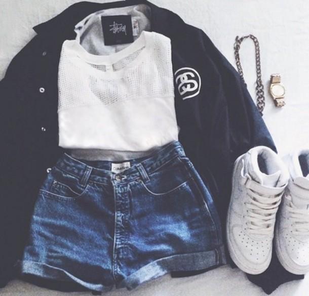 jacket stussy blouse dope jewels shorts t-shirt shoes shirt white t-shirt swag urban black cardigan