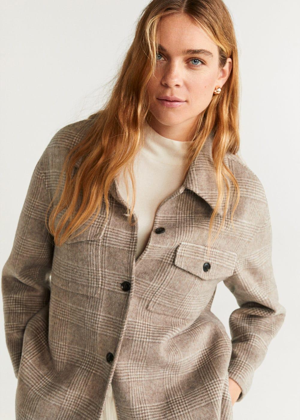 Jacke aus kariertem wollstoff - Damen | Mango Deutschland