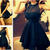 Aliexpress.com : Buy Beautiful!!Handmade Cheap Party Dresses vestido de festa Black Halter See Through Short/Mini Chiffon Party Dress Fast Shipping from Reliable dress long sleeve tunic dress suppliers on DressHome