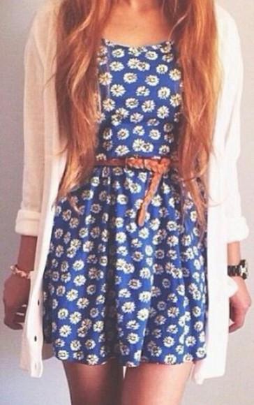 floral dress blue dress flower dress sunflower dress tumblr dress cute dress blue dress. white dress