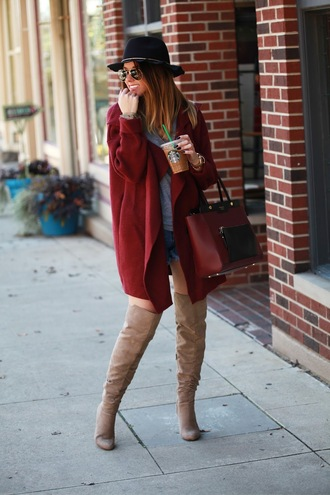 fashionably kay blogger suede boots thigh high boots oversized cardigan fall jacket