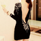 Sexy backless beading women's long sleeve dress