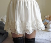 skirt,white,lace,black,thigh highs,underwear