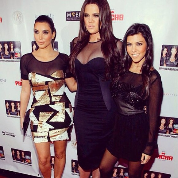 kim kardashian gold black dress kourtney kardashian khloe kardashian sequins