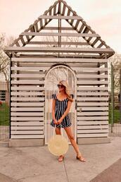 ashn'fashn,blogger,sunglasses,romper,bag,shoes,round bag,straw bag,sandals