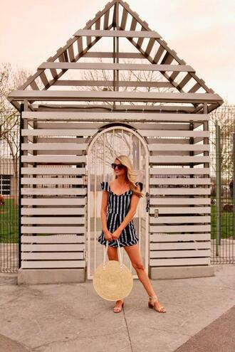 ashn'fashn blogger sunglasses romper bag shoes round bag straw bag sandals
