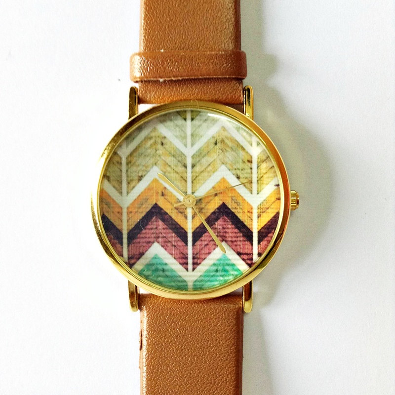 Original Freeforme Wood Chevron Watch, Vintage Style Leather Watch, Women Watches, Unisex Watch, Boyfriend Watch, Tan, White,