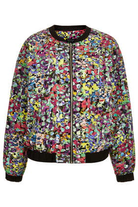 Pop Flower Print Bomber - Topshop USA