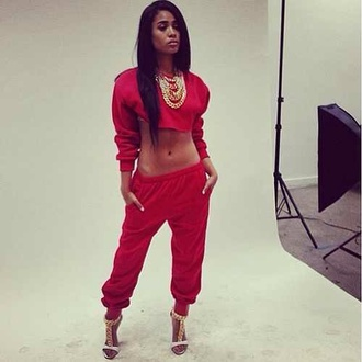 pants red gold high heels jumper jewels