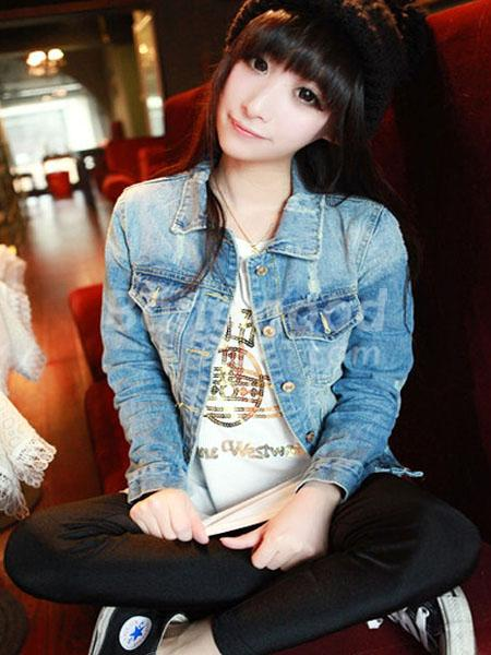 Short Washed Hole Long Sleeve Denim Jacket Coat - CA$18.56