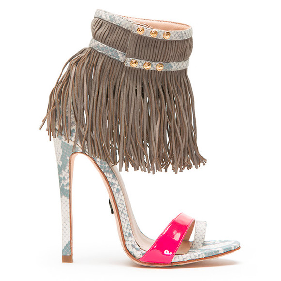 shoes fringe high heels classy party open toes stilettos girly tribal pattern colorful style snake skin print sandals emily b ziginy flyjane fringe sandals fringe heels grey grey sandals