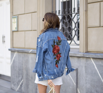 jacket embroidered tumblr denim jacket denim rose embroidered