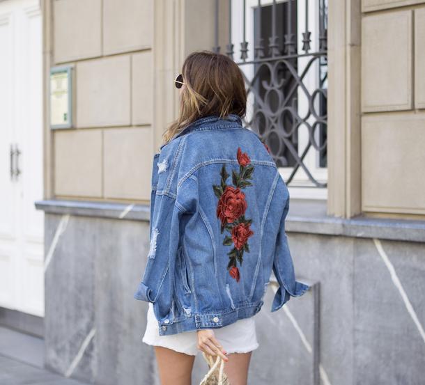 Jacket Embroidered Tumblr Denim Jacket Denim Rose Embroidered