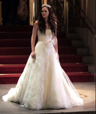 dress white dress wedding dress wedding clothes gossip girl blair waldorf blair waldorf leighton meester lovely