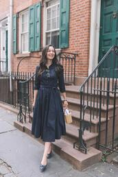 thecollegeprepster,blogger,dress,sunglasses,jewels,bag,black midi dress,basket bag