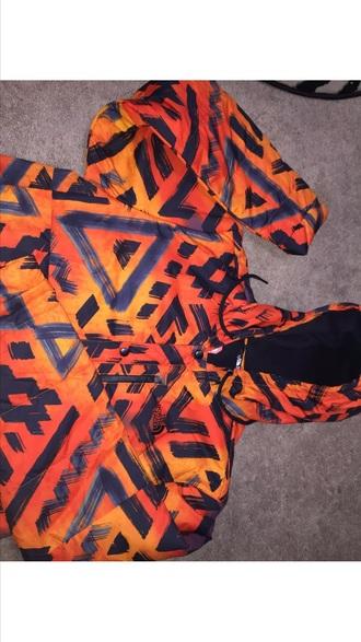 jacket north face tribal pattern orange menswear mens jacket