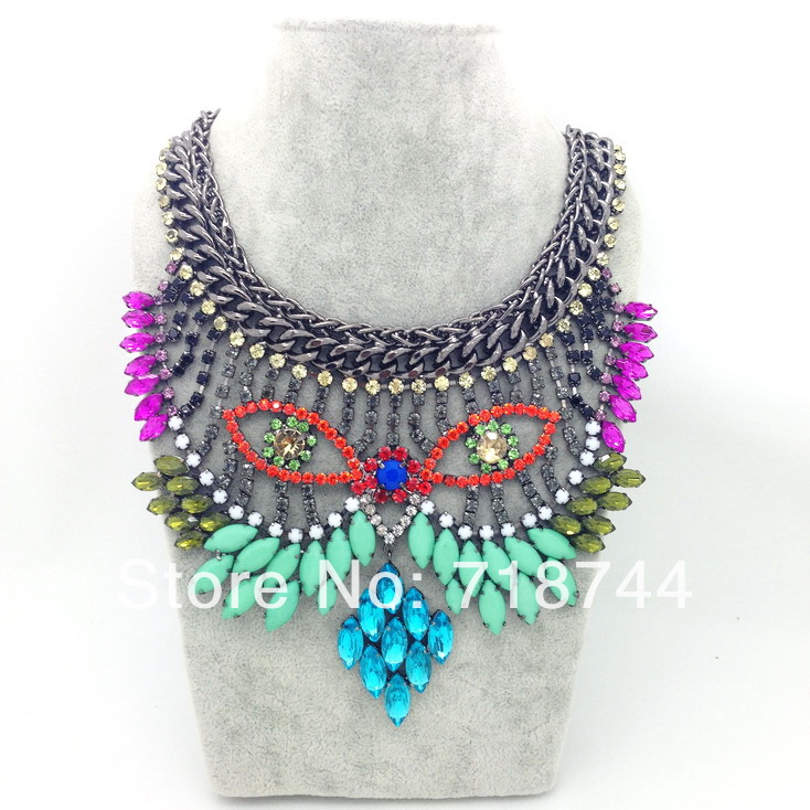shipping New Design Fashion necklace colorful acrylic glass beads ...