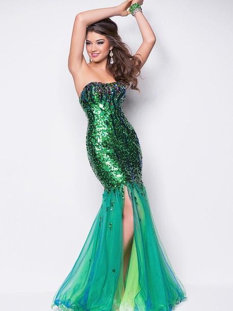 dress mermaid prom dress prom dress formal dress disney ariel blue and green mermaid prom dress