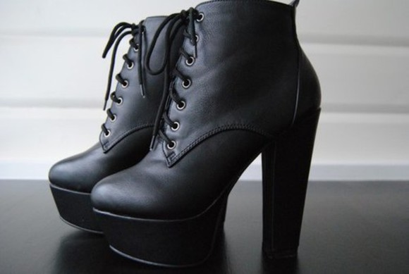 black shoes boots matte high heels Swag punk