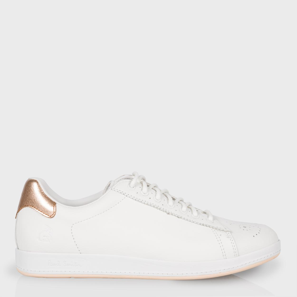 fee5ada2016 Paul Smith Women s White Leather  Rabbit  Trainers With Gold Trims