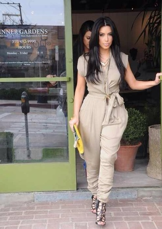 pants romper pantsuit kim kardashian jumpsuit nude cream shoes purse bag kim kardashian jumpsuit nude jumpsuit