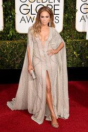 dress,zuhair murad,jennifer lopez,slit dress,Golden Globes 2015,bag,jimmy choo,clutch,shoes
