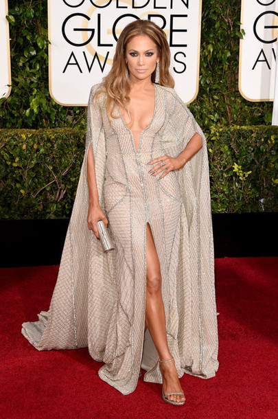 dress zuhair murad jennifer lopez slit dress Golden Globes 2015 bag jimmy choo clutch shoes