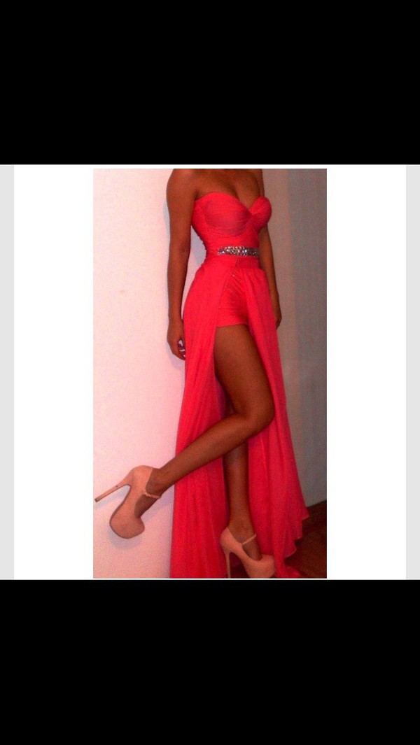 dress hot pink dress long prom dress prom dress coral prom dress bright coral split prom dress split prom dress sheath/column floor length prom dress pink/fushia prom dress pink shoes