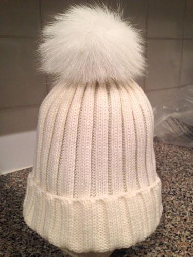 Luxurious REAL FOX Fur Pom Pom MERINO Wool Knit hat Beanie Ski ... 138cc22e285