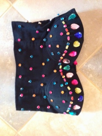 top diamonds gems glitter barbie princess etsy 80s style 90s style bustier crop top bustier embellished top