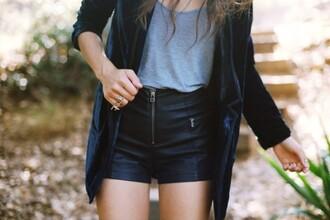 shorts leather zip leather shorts high waisted shorts jacket