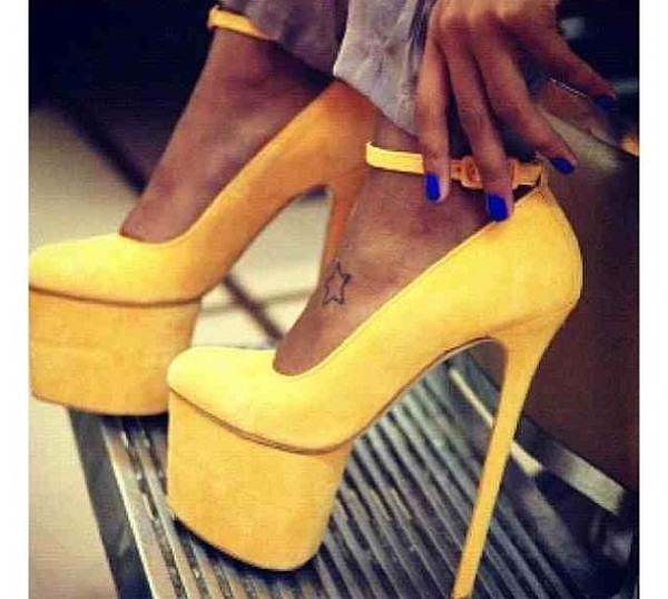 shoes yellow stilettos