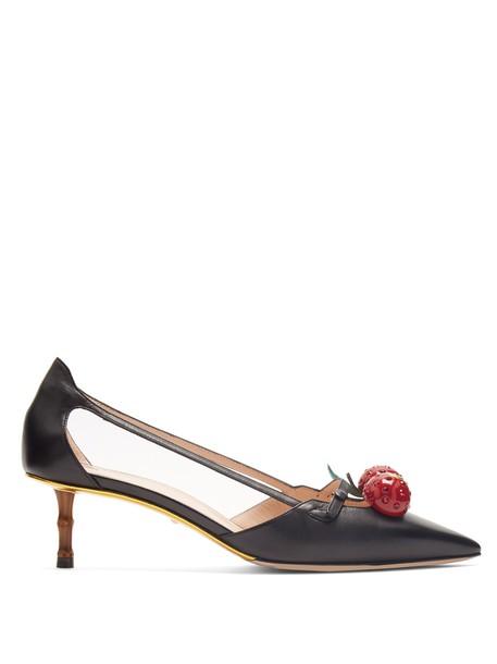 gucci cherry pumps black shoes