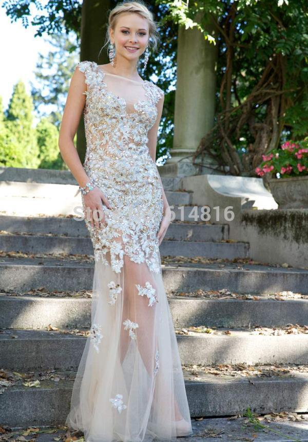 Aliexpress.com : Buy Customized Sheer Tulle With Lace Appliques Long Mermaid Back Prom Dress Open Back Long Train Vestidos De Festa 2014 Party Gown from Reliable tulle wedding dress suppliers on Suzhou Babyonlinedress Co.,Ltd