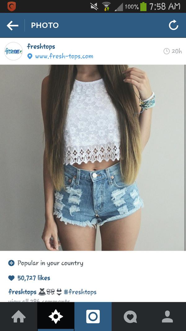 denim shorts cute shorts white lace top lace crop top